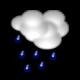 Broken clouds, rain showers
