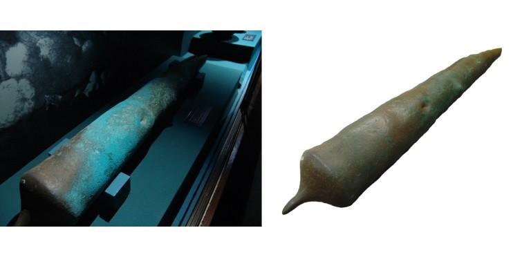 Canhão de bronze, antes e depois do tratamento de estabilização | Museu do Mar – Rei D. Carlos