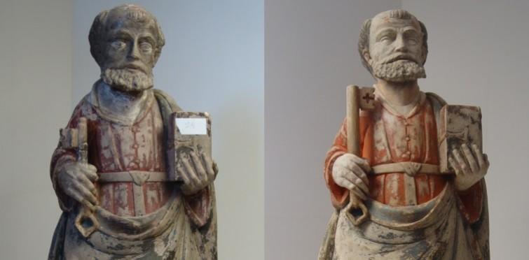 Imagem de S. Pedro, antes e depois da intervenção de conservação e restauro