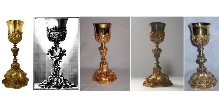 Comparação do cálice da Santa Casa da Misericórdia de Cascais com exemplares idênticos