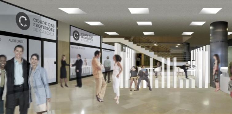Projeto das futuras instalações da Cidade das Profissões de Cascais, no edifício do Cascais Center.