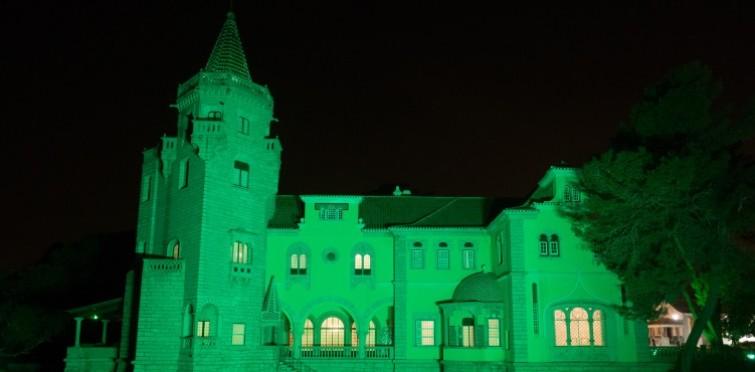 Ao início da noite o museu ilumina-se de verde até 17 de março