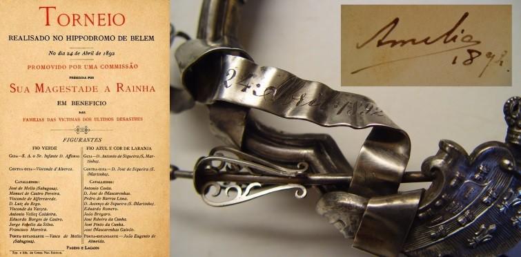 Cartaz publicitário do torneio equestre realizado no Hipódromo de Belém, no dia 24 de abril de 1892, com pormenores dessa data inscrita na moldura e assinatura, na fotografia, da rainha D. Amélia